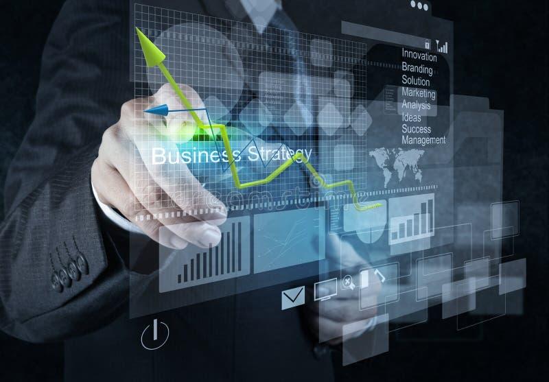 De punten van de zakenmanhand aan bedrijfsstrategie royalty-vrije stock foto