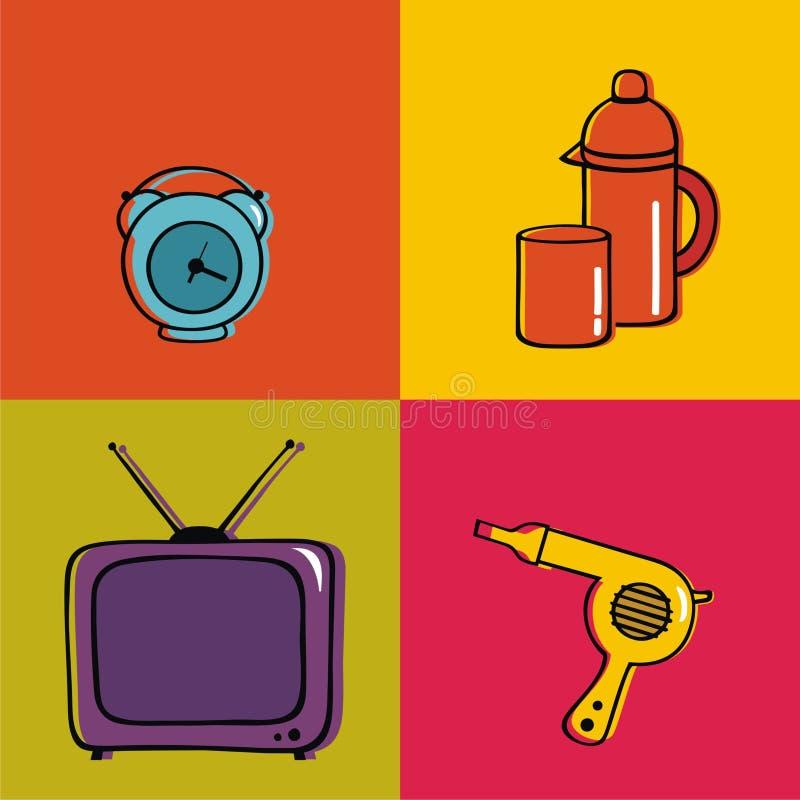 De punten van het huishouden, klok, thermosflessen, glas, droger en stock foto