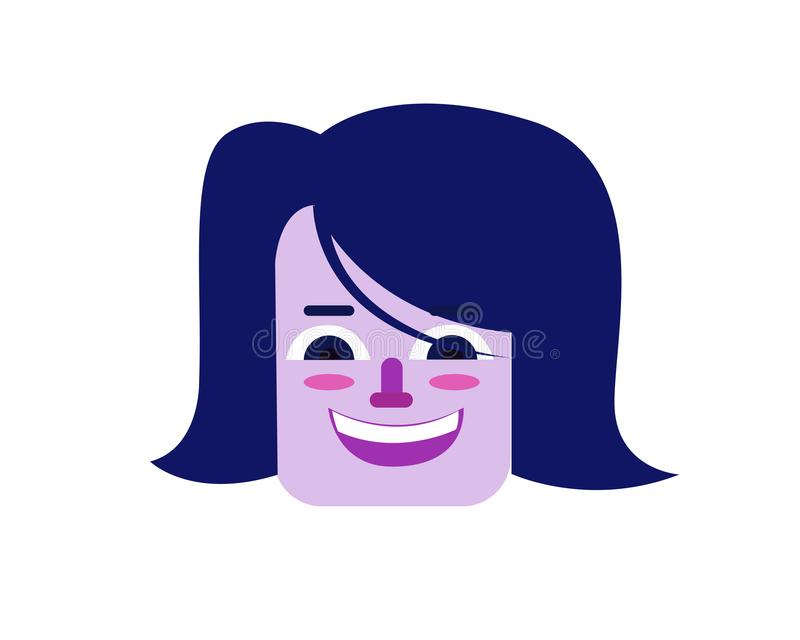De purpere illustratie van het vrouwengezicht in vlakke stijl stock afbeelding