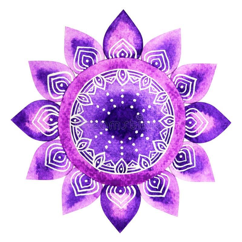 De purpere kleur van de kroonconcept van het chakrasymbool, bloeit bloemen stock illustratie