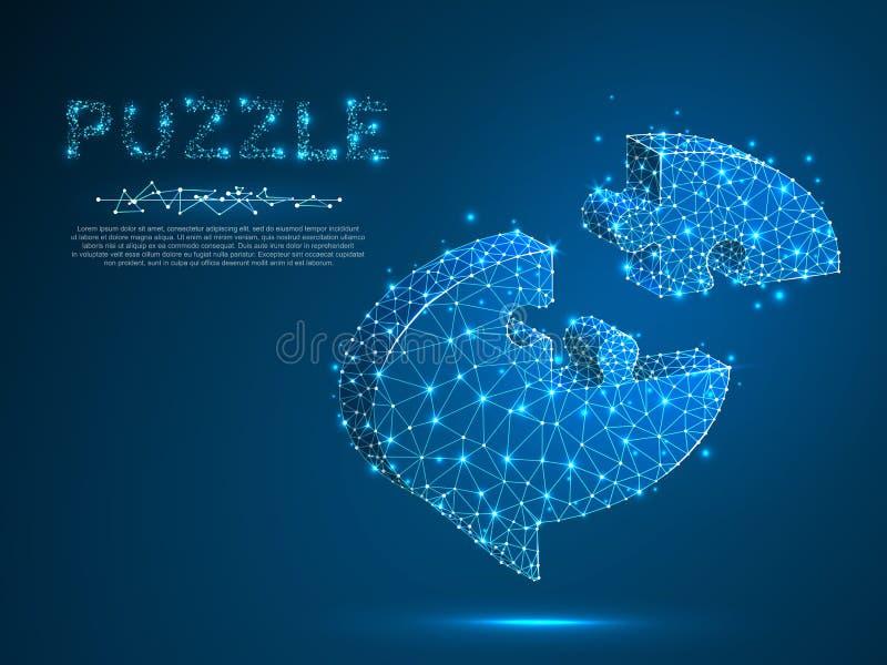De Puzzel van de dialoogwolk Abstract Sociaal Netwerk of Praatjethema Neon lage poly Veelhoekige wireframe Vector vector illustratie