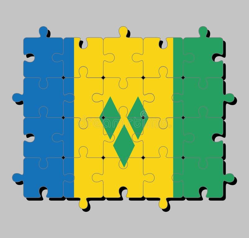 De puzzel van de vlag van Heilige Vincent in blauw goud en groen met drie groene diamanten schikte in V vector illustratie