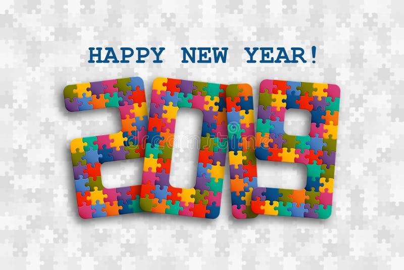 de puzzelachtergrond van 2019 met vele kleurrijke stukken Gelukkig Nieuwjaarskaartontwerp Abstract mozaïekmalplaatje stock illustratie