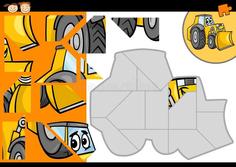 De puzzelspel van de beeldverhaalbulldozer royalty-vrije illustratie