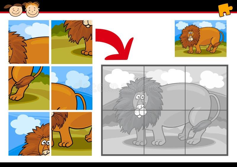 De puzzelspel van de beeldverhaalleeuw vector illustratie