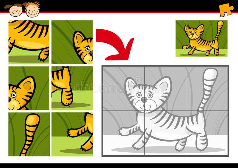 De puzzelspel van de beeldverhaaltijger vector illustratie