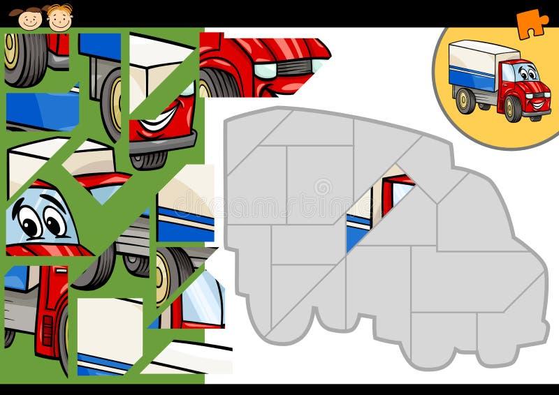 De puzzelspel van de beeldverhaalvrachtwagen royalty-vrije illustratie
