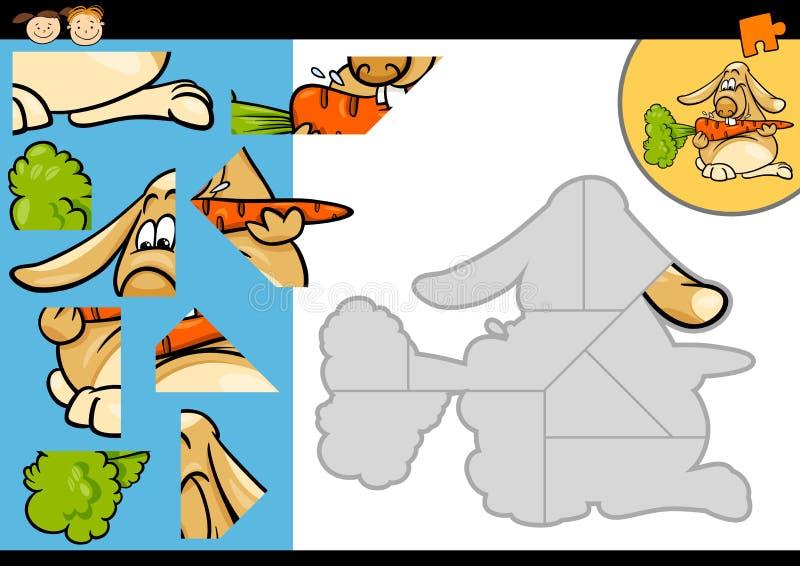 De puzzelspel van het beeldverhaalkonijn royalty-vrije illustratie