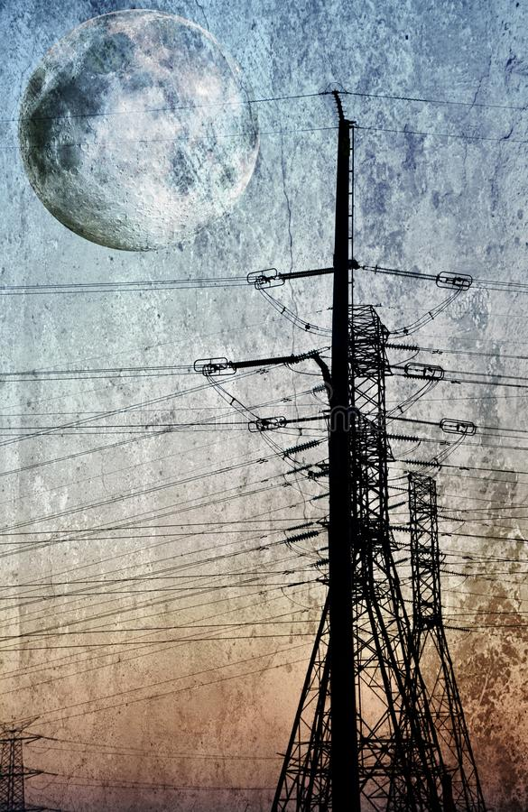 De pyloon van de elektriciteit op blauwe hemel royalty-vrije stock fotografie