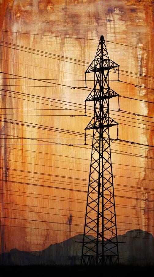 De pyloon van de elektriciteit op blauwe hemel royalty-vrije stock foto
