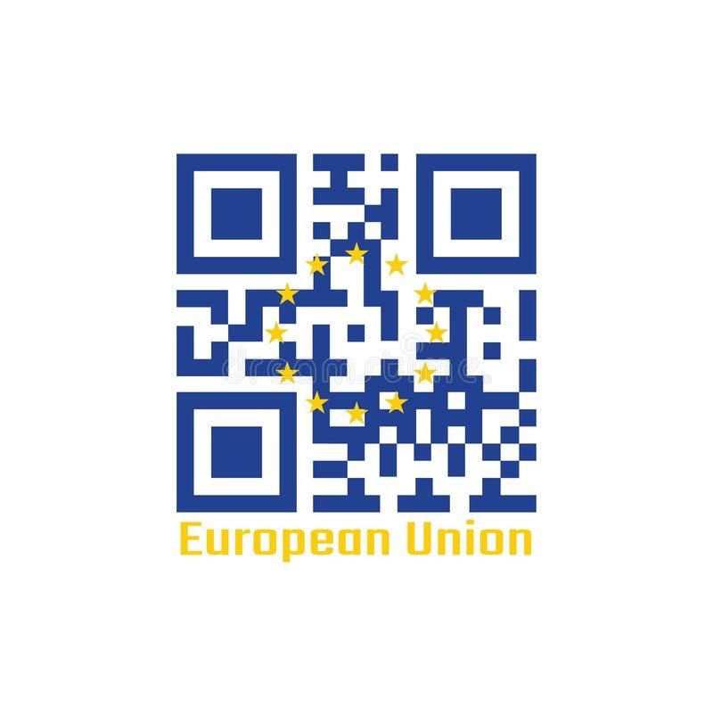 De QR-code plaatst de kleur van de vlag van Europa Een cirkel van twaalf vijf-gerichte gele sterren op een blauw gebied stock illustratie
