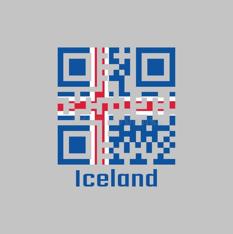 De QR-code plaatst de kleur van de vlag van IJsland het is blauw als hemel met een sneeuwwit kruis, en vurig-roodkruis binnen het royalty-vrije illustratie