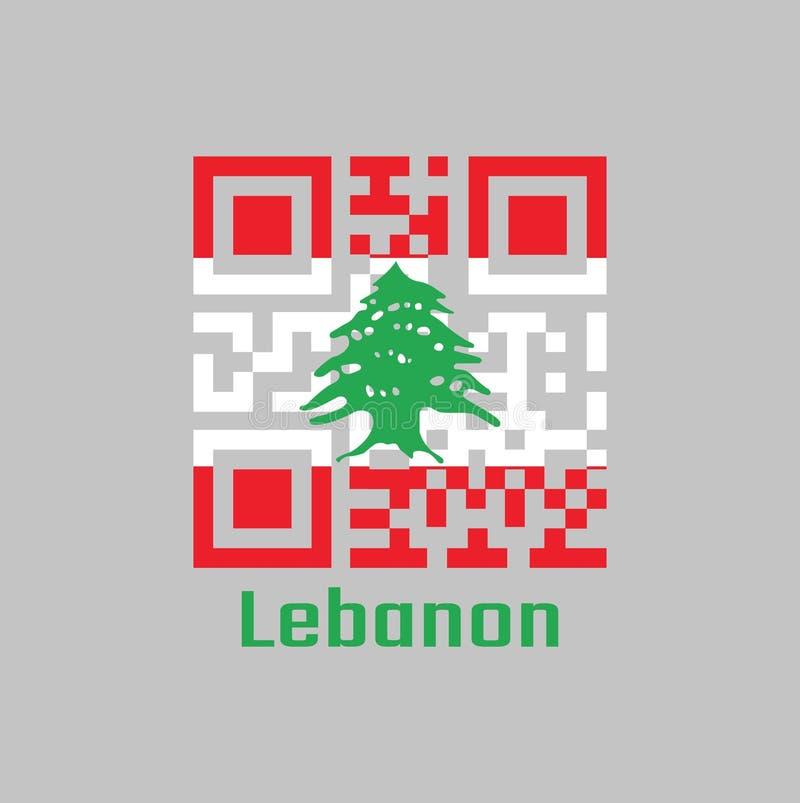 De QR-code plaatst de kleur van de vlag van Libanon Het is een horizontale die triband van rood en wit, met een groene Ceder van  stock illustratie