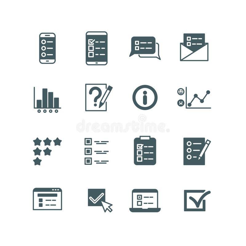 De quiz en de test maken van een lijst, stemmend over knoop, onderzoek, geplaatste vragenlijst vectorpictogrammen royalty-vrije illustratie