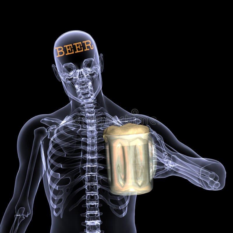 De Röntgenstraal van het skelet - Bier royalty-vrije illustratie