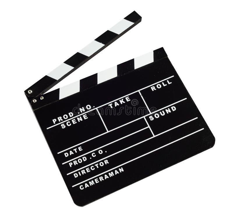 De raad van de filmklep tegen witte achtergrond stock afbeeldingen