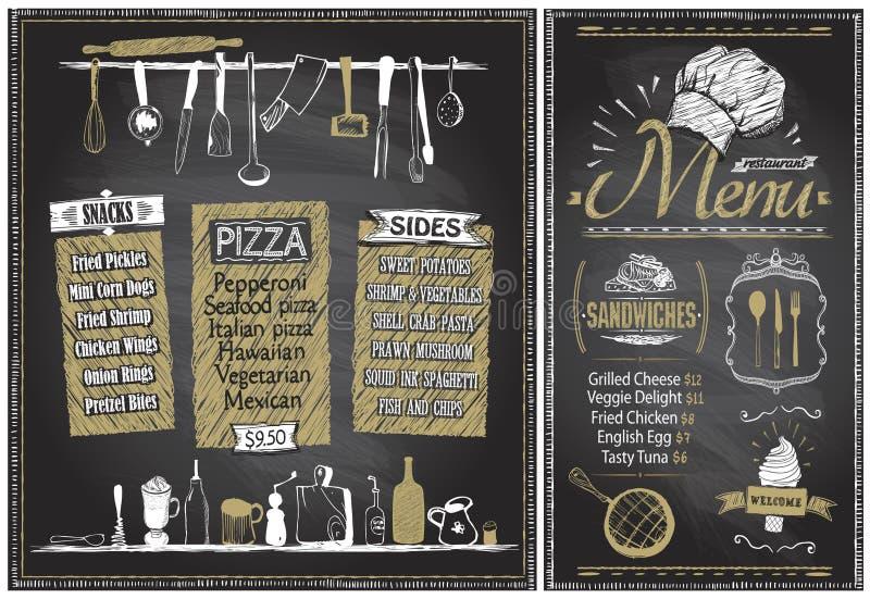 De raad van het krijtmenu met keukengerei, hand getrokken grafische illustratie royalty-vrije illustratie