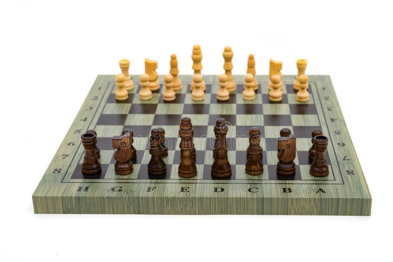 De raad van het schaak met schaakstukken royalty-vrije stock fotografie