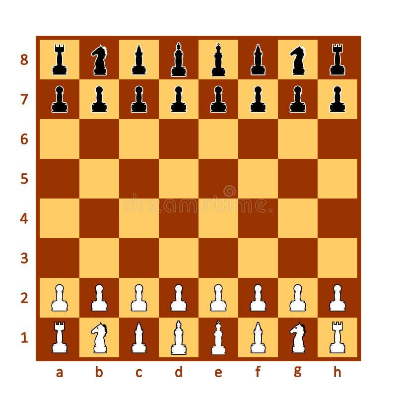 De raad van het schaak met schaakstukken stock illustratie