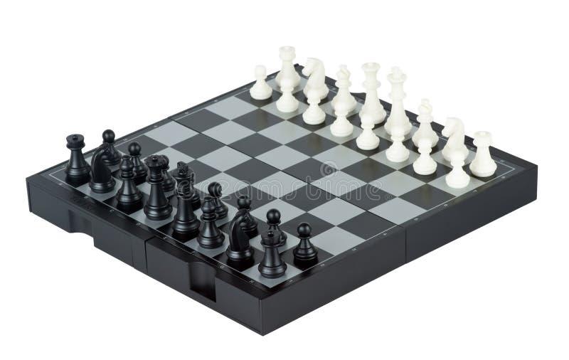De raad van het schaak met schaakstukken stock afbeelding