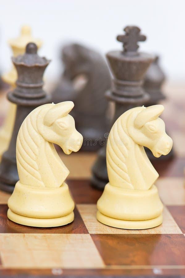 Schaakraad met schaakstukken royalty-vrije stock foto