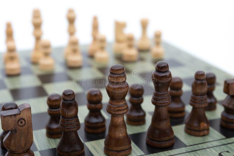 De raad van het schaak met schaakstukken royalty-vrije stock foto's