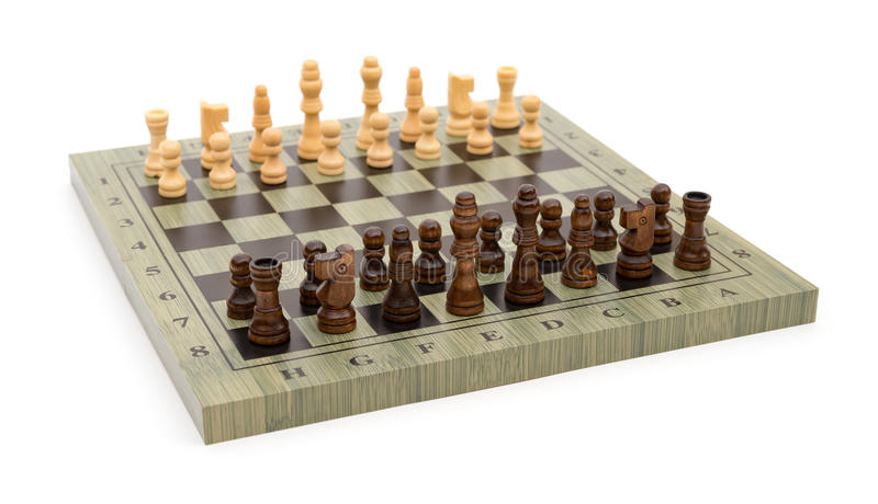 De raad van het zijaanzichtschaak met schaakstukken stock foto's