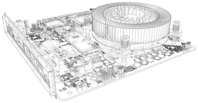 De raad van de kring De technologie van de elektronische computerhardware Het vector teruggeven van 3d vector illustratie