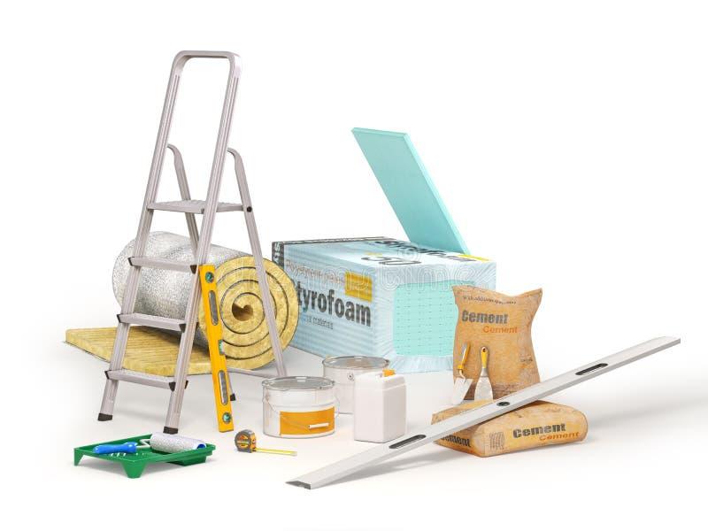 De raad van de polystyreenisolatie, steenwol, trapladder, meetinstrumenten, cementzak met metselwerk trow vector illustratie
