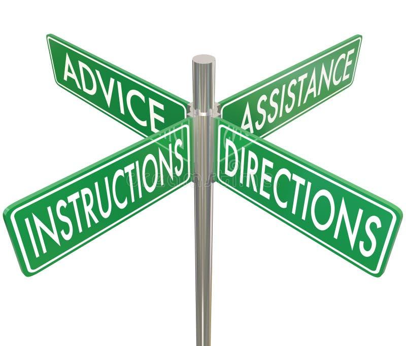 De Raadshulp Vier 4 Manier Intersectio van instructiesrichtingen stock illustratie