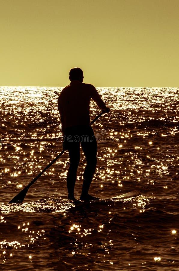 De raadssurfer van de silhouetpeddel stock fotografie