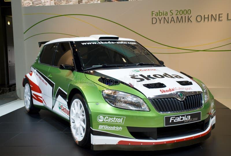 De raceauto van Fabia S2000 van Skoda op toont royalty-vrije stock foto