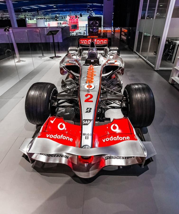 De Raceauto van McLarenformule 1 op vertoning stock afbeelding