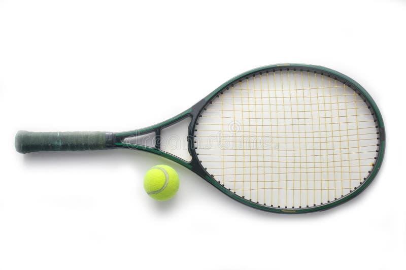 De racket en de bal van het tennis stock afbeeldingen
