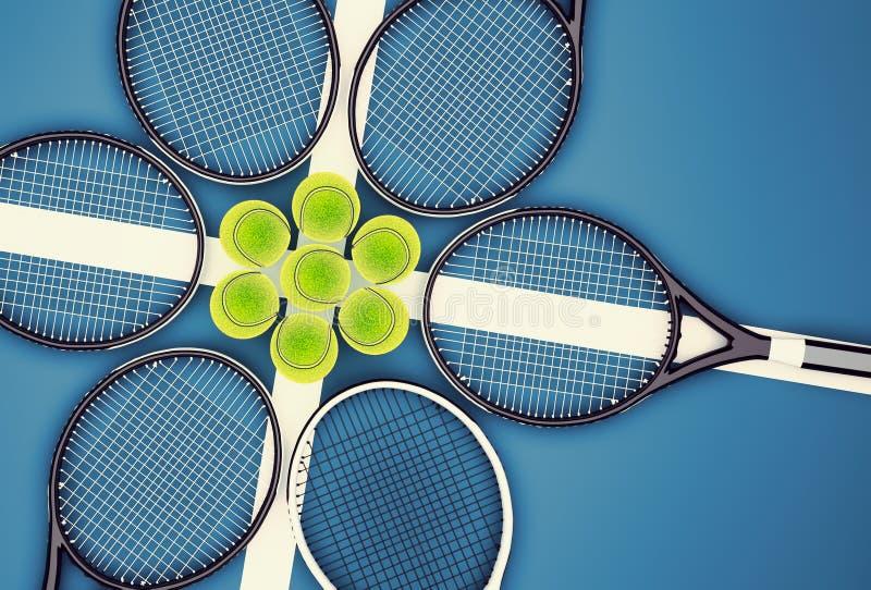De rackets en de ballen van het tennis Tennisschool stock illustratie