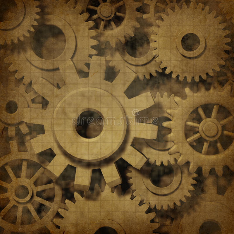De radertjes van toestellen in oud grunge oud perkament vector illustratie