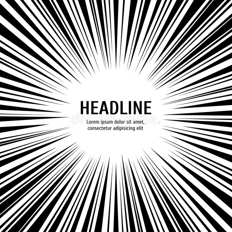 De radiale achtergrond van snelheidslijnen - zwart-witte lijnenachtergrond stock illustratie