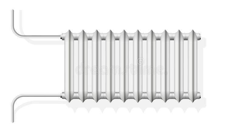De radiator van de gietijzercentrale verwarming in de flat Witte radiator op de muur Realistisch kijk royalty-vrije illustratie