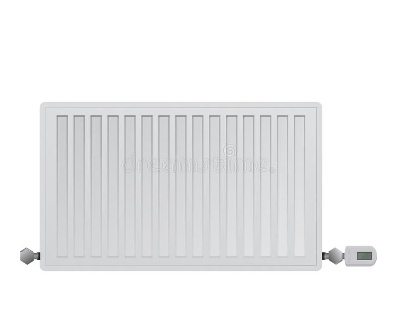 De radiator van het staalpaneel Het leiden van elektronisch thermisch hoofd op de klep Verbinding aan het verwarmingssysteemrecht vector illustratie