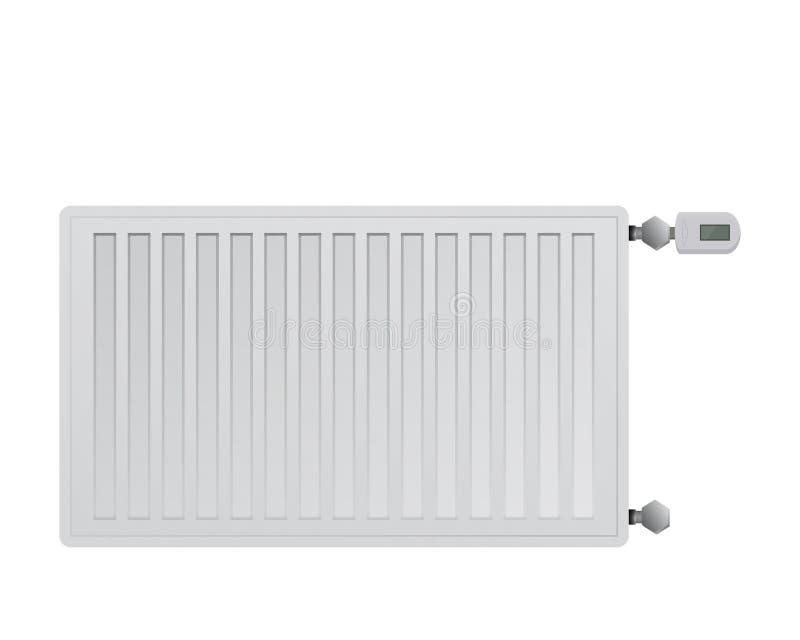De radiator van het staalpaneel op witte achtergrond Elektronisch thermisch hoofd met een vertoning Verbinding aan de rechterkant stock illustratie