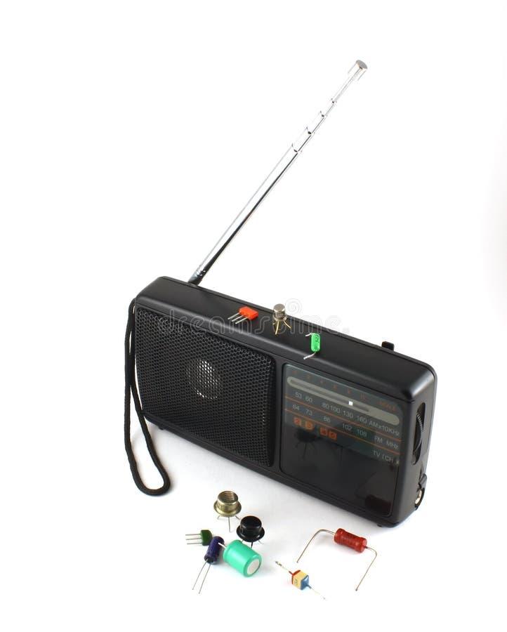 De radio en elektronische componenten van de zak royalty-vrije stock afbeeldingen