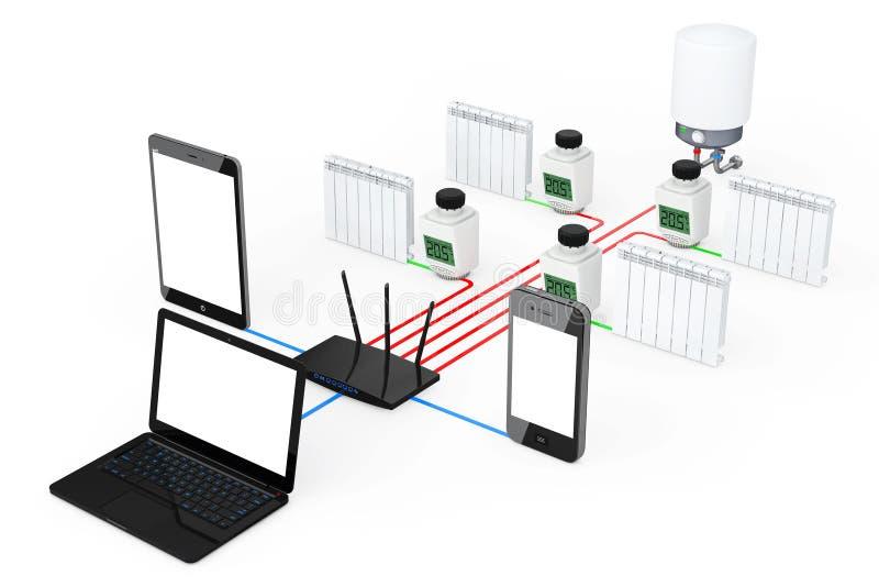 De Radio van het de Controlesysteem van het huisklimaat die door Laptop, Lijst wordt gecontroleerd vector illustratie