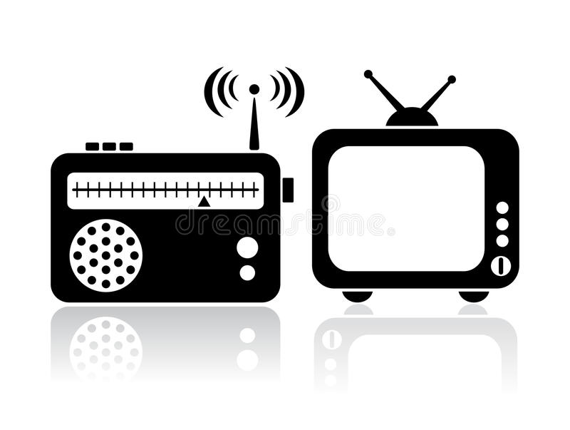 De radiopictogrammen van TV vector illustratie