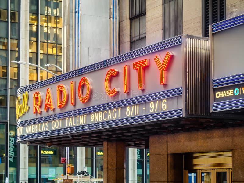 De Radiozaal van de Stadsmuziek in New York stock afbeeldingen