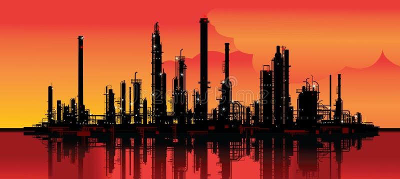 De raffinaderij van de olie royalty-vrije illustratie