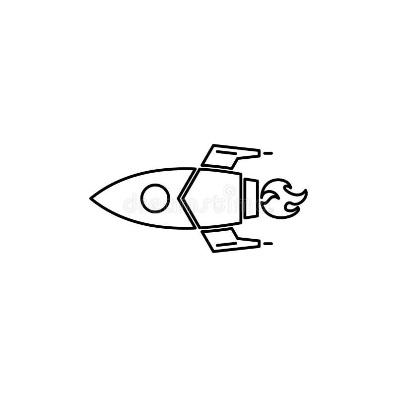 De raket lauch schetst pictogram vector illustratie