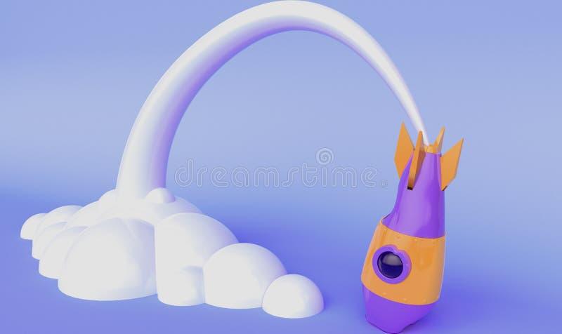 De raket viel het 3d teruggeven royalty-vrije illustratie