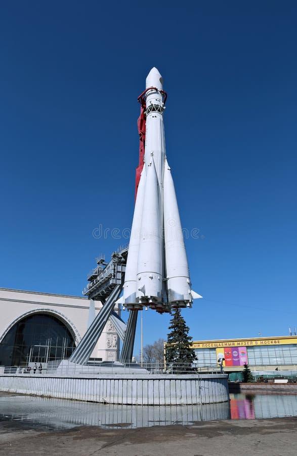 De raket Vostok op het lanceringsstootkussen royalty-vrije stock foto