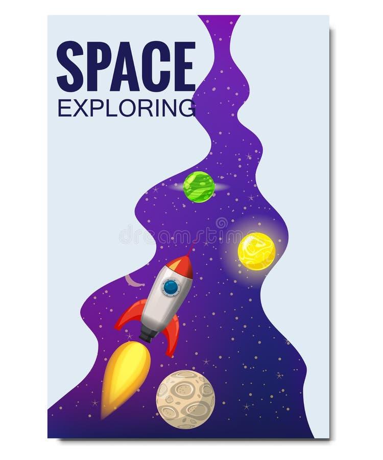 De raketruimtevaart van de overzichtskosmische ruimte, exploratie van het heelal, andere planeten, vliegende raketten, sterren va stock illustratie