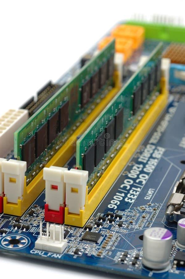 De RAM van de computer op motherboard stock foto